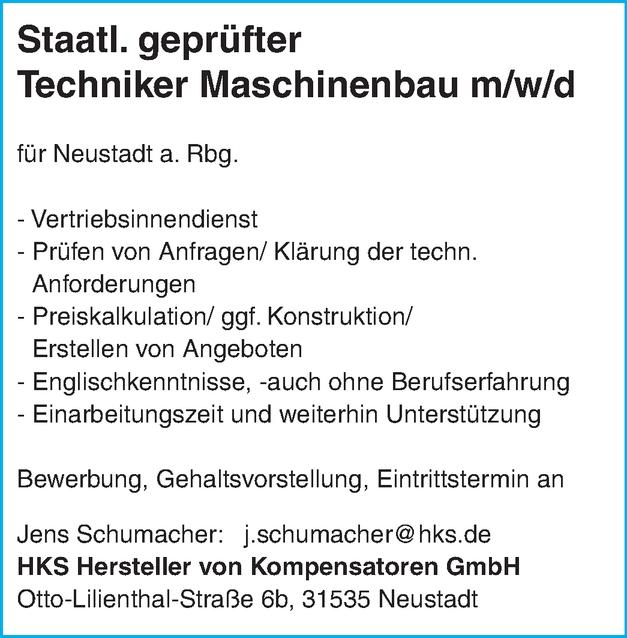 Staatl. geprüfter Techniker Maschinenbau m/w/d