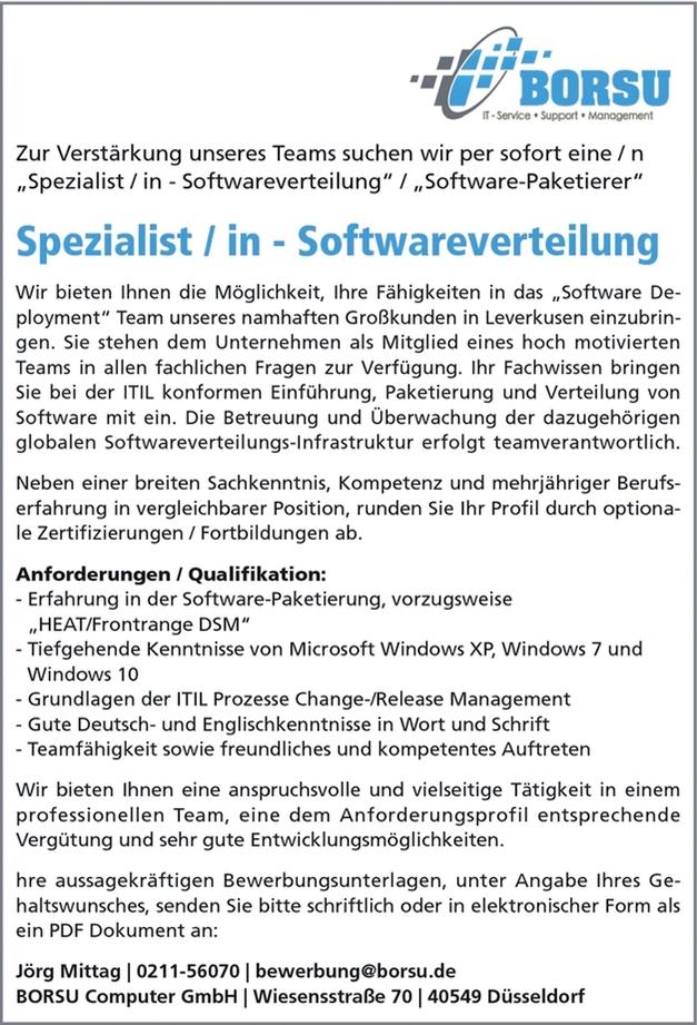 Spezialist / in - Softwareverteilung