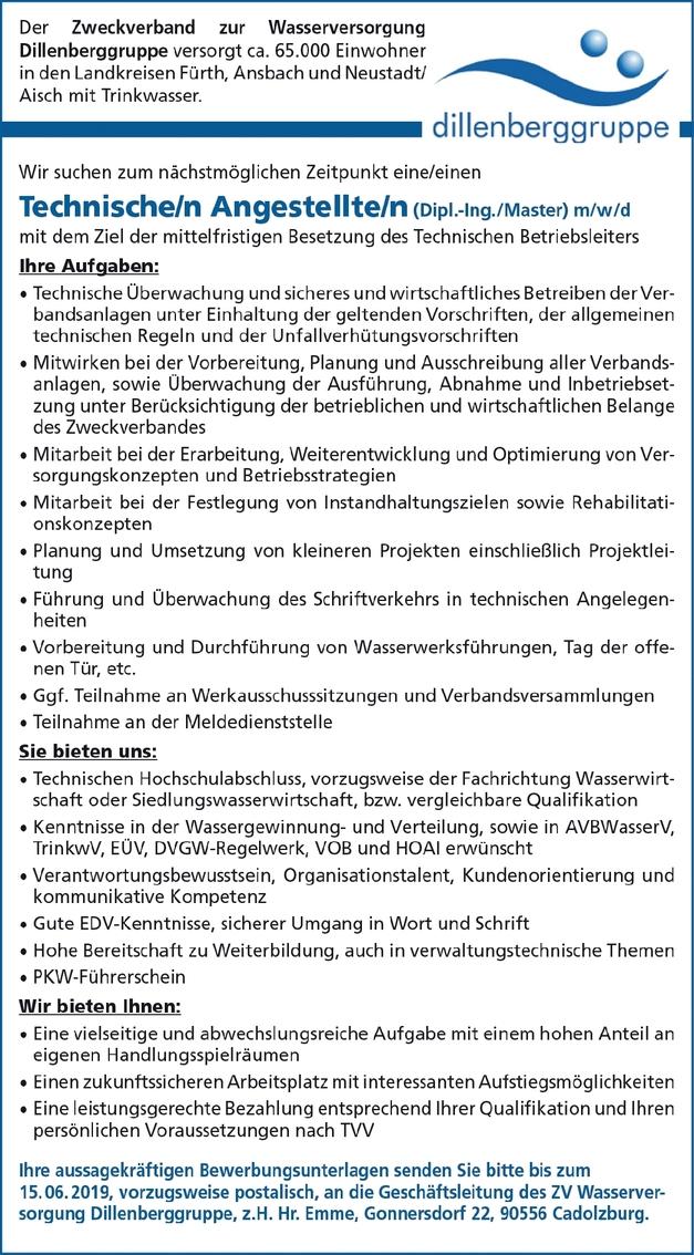 Technische/r Angestellte/r (Dipl.-Ing./Master) (m/w/d)