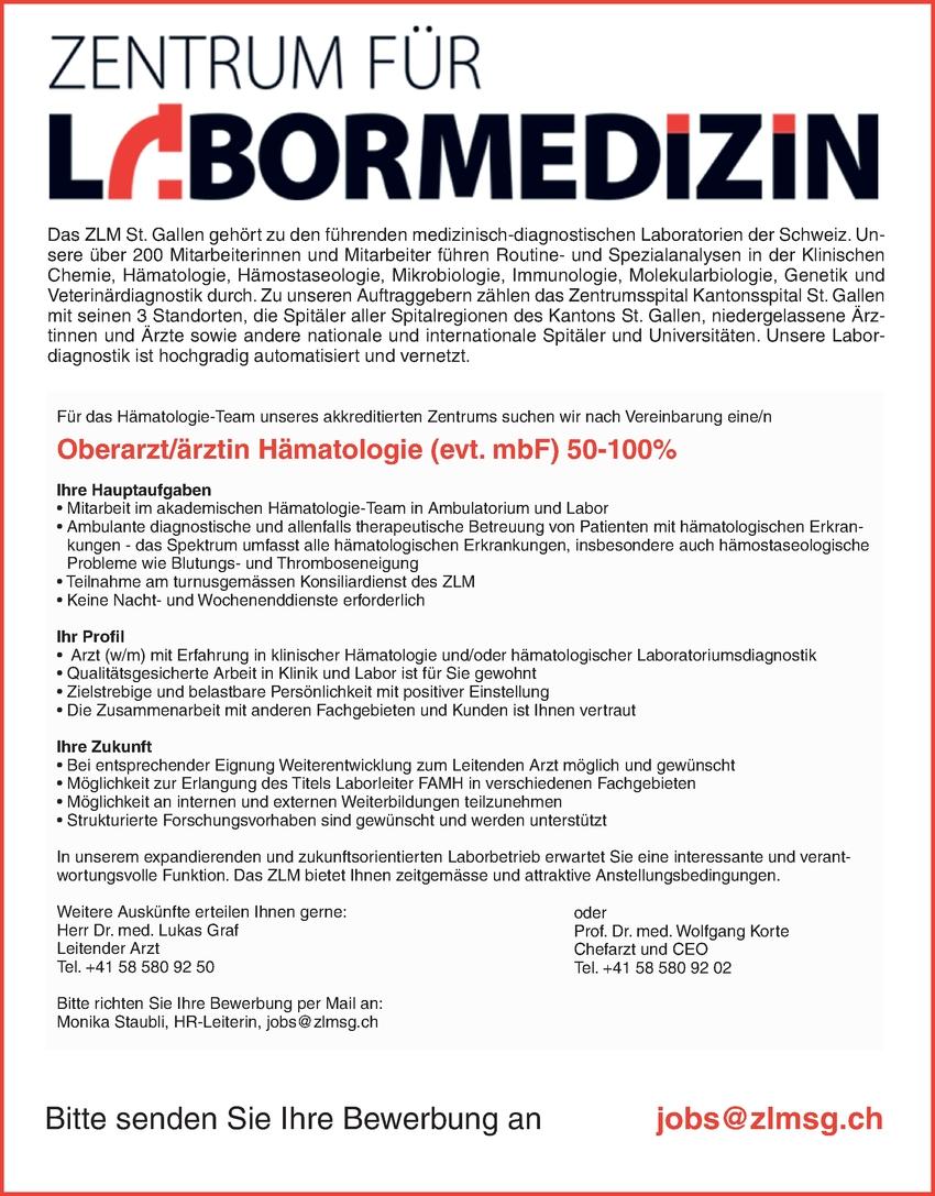 Oberarzt/ärztin Hämatologie (evt. mbF) 50-100%