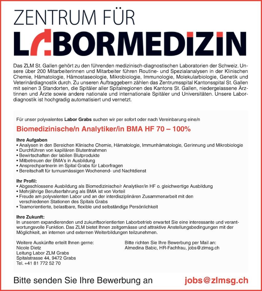 Biomedizinische/n Analytiker/in BMA HF 70 – 100%