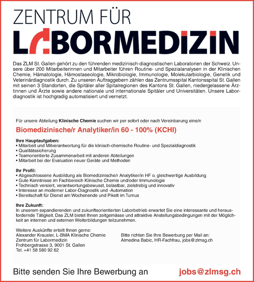 Biomedizinische/r Analytiker/in 60 - 100% (KCHI)