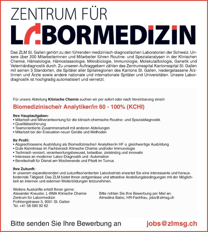 Biomedizinische/n Analytiker/in BMA 70 - 100%