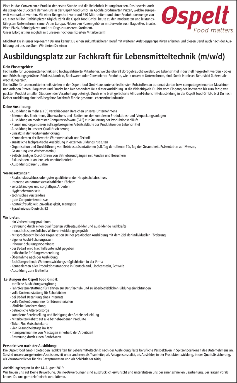 Ausbildung Fachkraft für Lebensmitteltechnik (m/w/d)