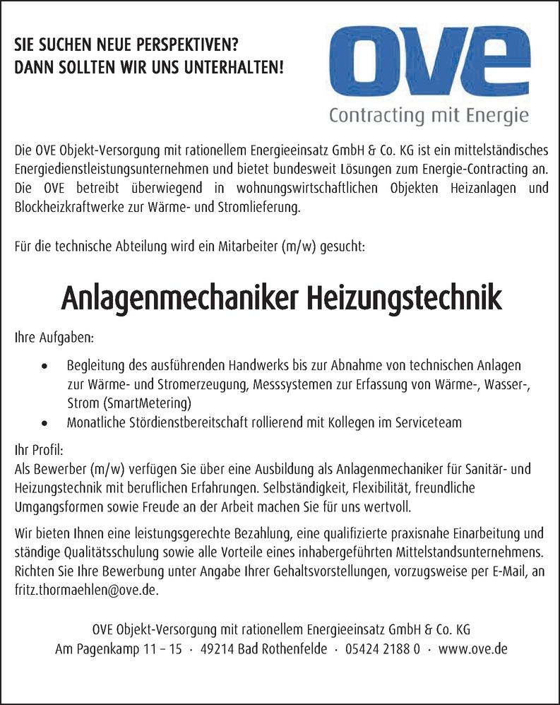 Anlagenmechaniker für Heizungstechnik (m/w/d/) als Technischer Sachbearbeiter