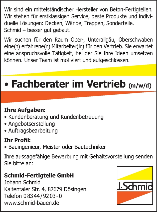 Bauingenieur  im Vertrieb (m/w/d)