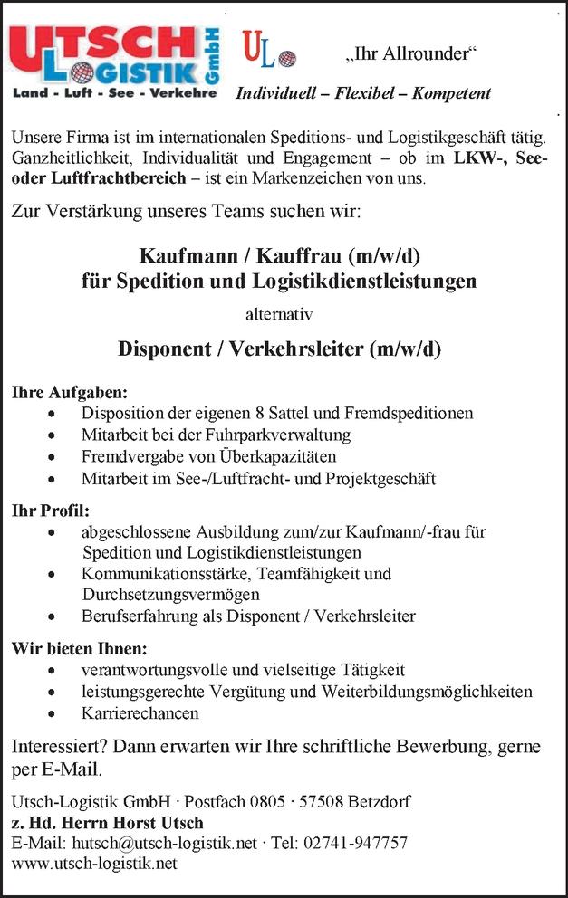 Kaufmann / Kauffrau (m/w/d)