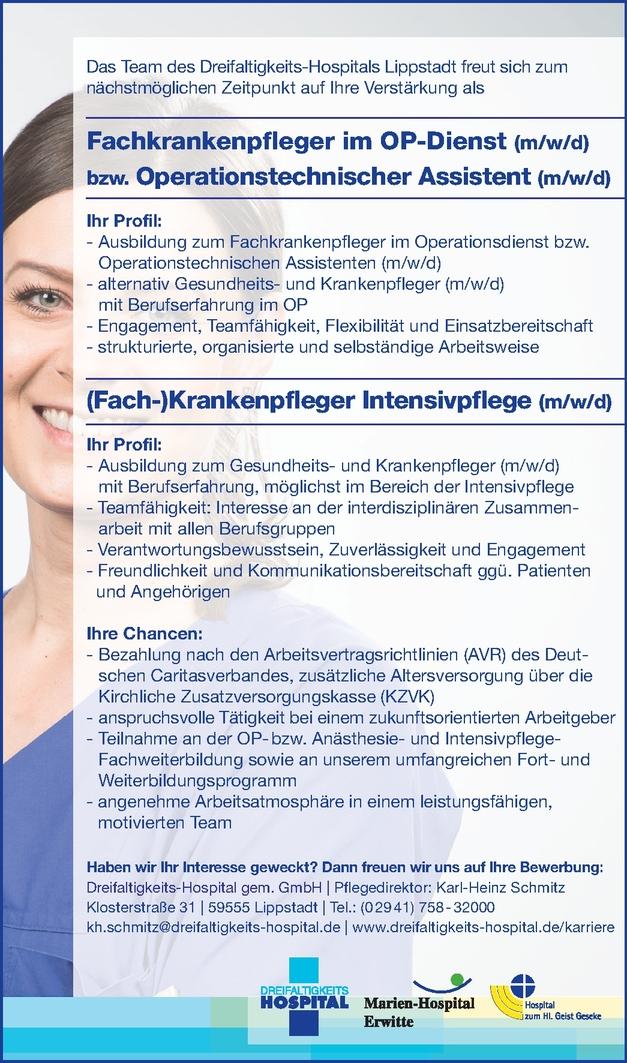 Fachkrankenschwester/-pfleger - Intensivpflege