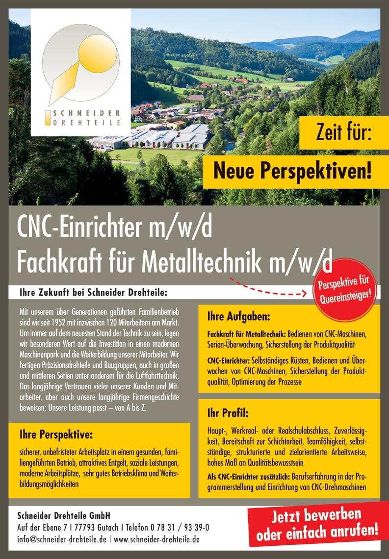 CNC - Fachkraft für Metalltechnik (m/w/d)
