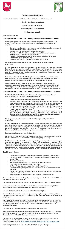 Bauingenieur (m/w/d) Bereich Brückebau