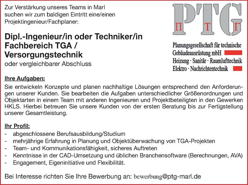Dipl.-Ingenieur/in oder Techniker/in Fachbereich TGA /Versorgungstechnik