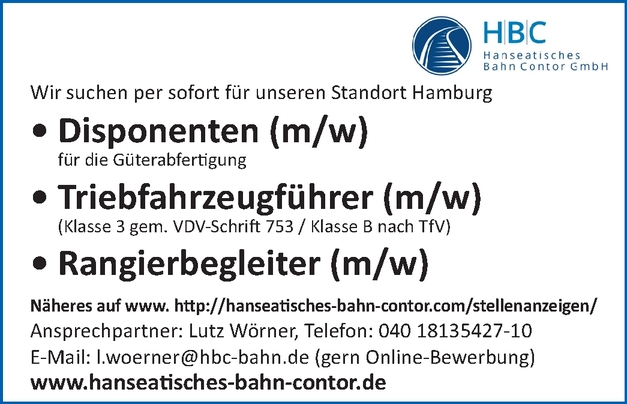 Disponenten m/w, Triebfahrzeugführer m/w,  Rangierbegleiter m/w