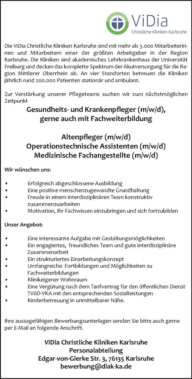 Gesungheits- und Krankenpfleger ((m/w/d)