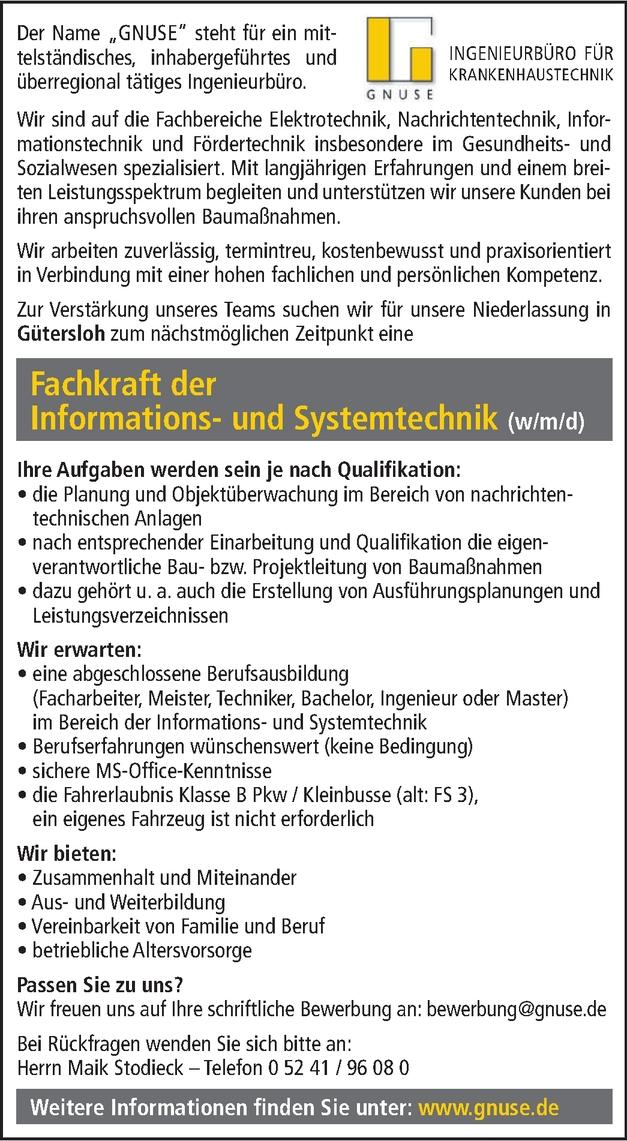Fachkraft Informations- Systemtechnik
