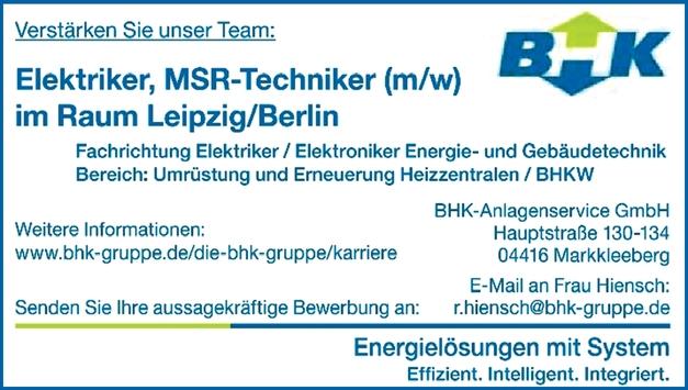 Elektriker/MSR-Techniker