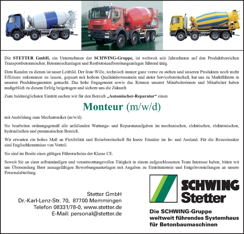 Monteur/in