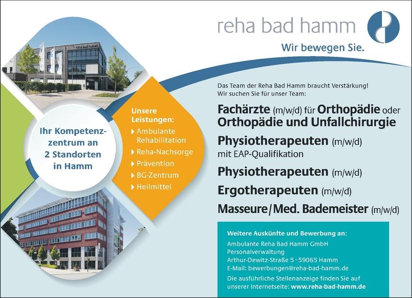 Facharzt m/w/d für Orthopädie und/oder Unfallchirurgie, Physiotherapeuten m/w/d