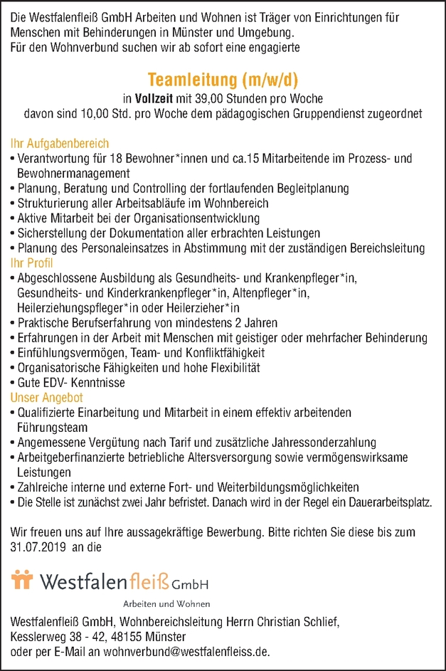 Teamleitung Gesundheits- Krankenpfleger m/w/d
