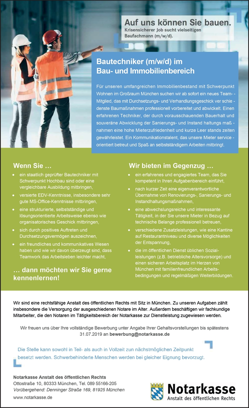 Bautechniker (m/w/d) im Bau- und Immobilienbereich
