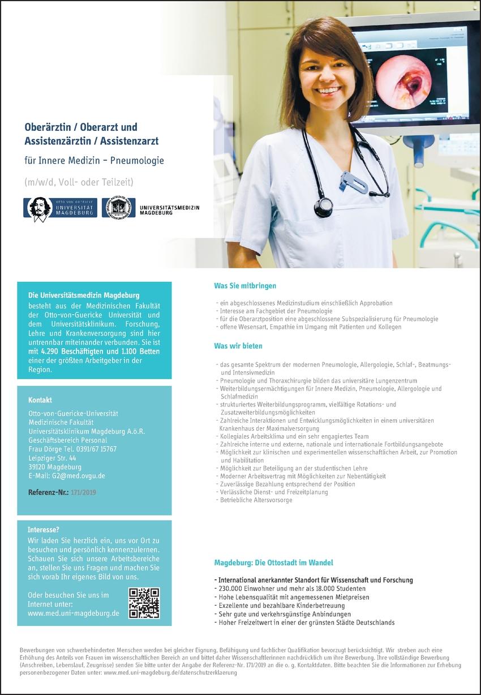 Assistenzärztin / Assistenzarzt für Innere Medizin - Pneumologie