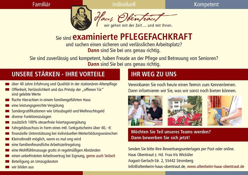Examinierte Altenpfleger/in (m/w/d)