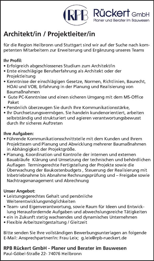 Architekt/in / Projektleiter/in