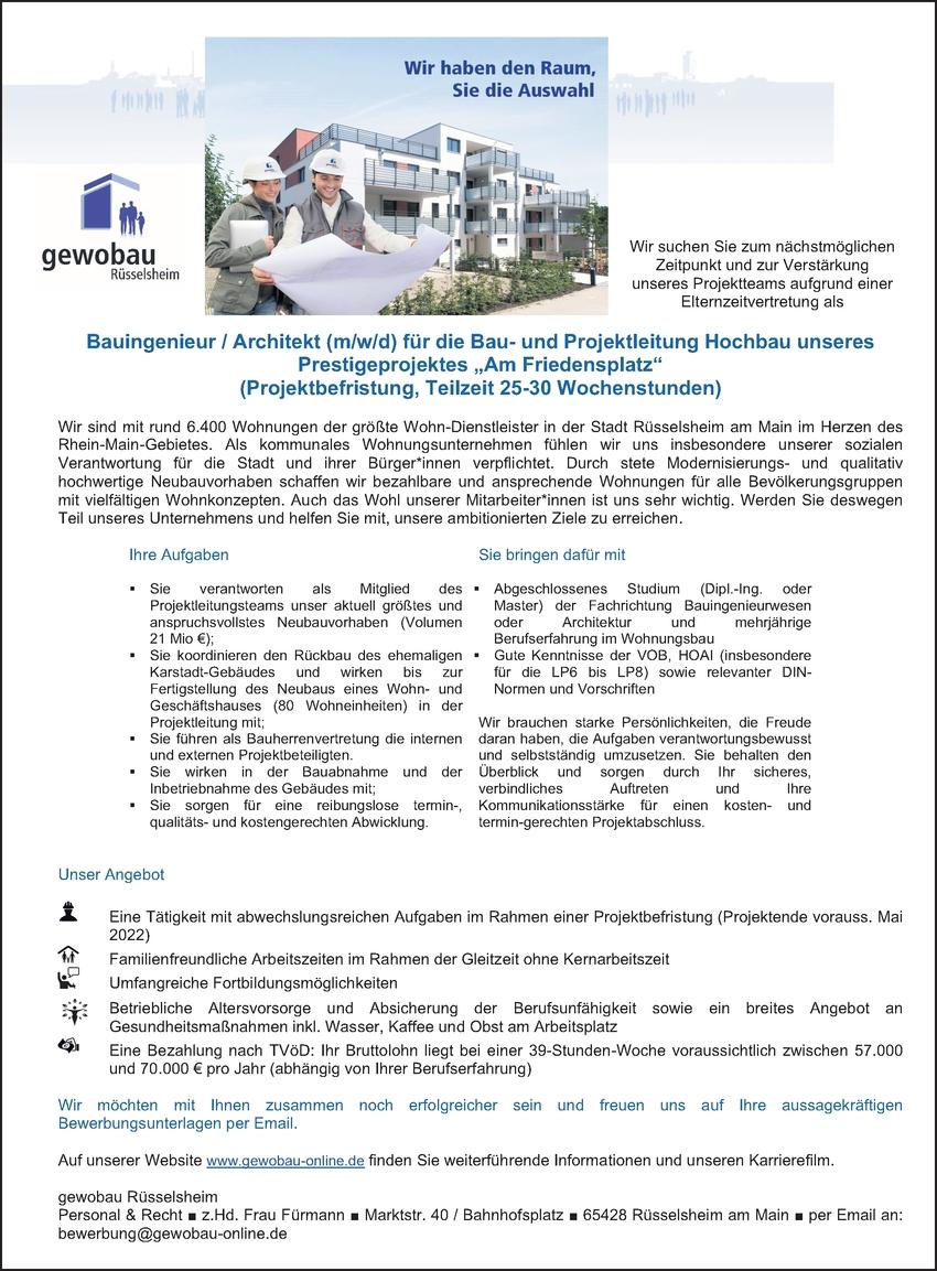 Bauingenieur / Projektmanager / Architekt (m/w/d) für die Bau- und Projektleitung Hochbau