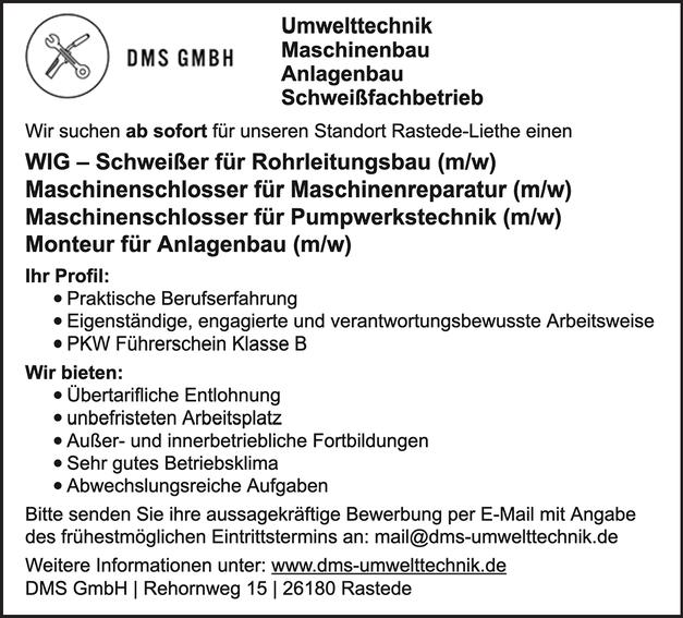WIG-Schweißer für Rohrleitungsbau (m/w)