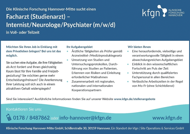 Facharzt (Studienarzt)- Internist/Neurologe/Psychiater (m/w/d)