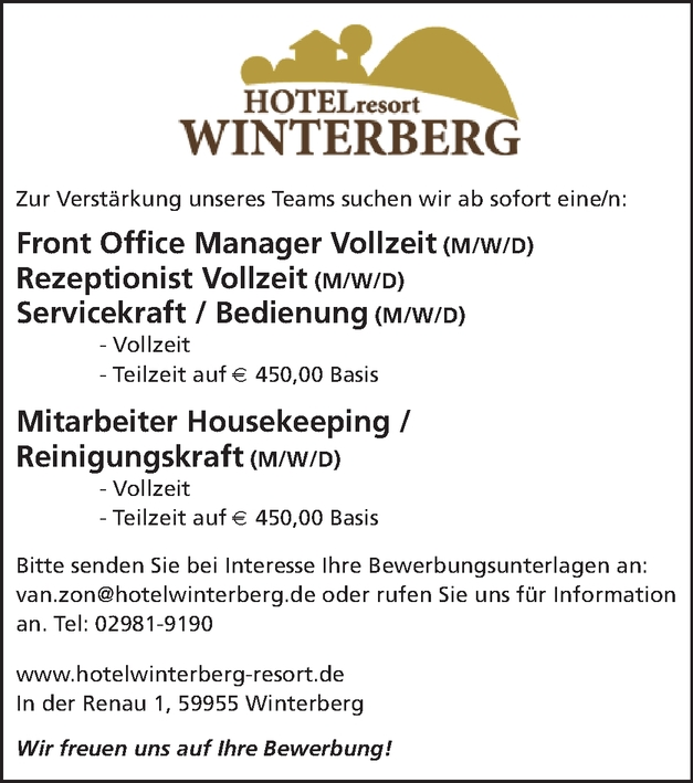 Front Office Manager/in (Hotel)