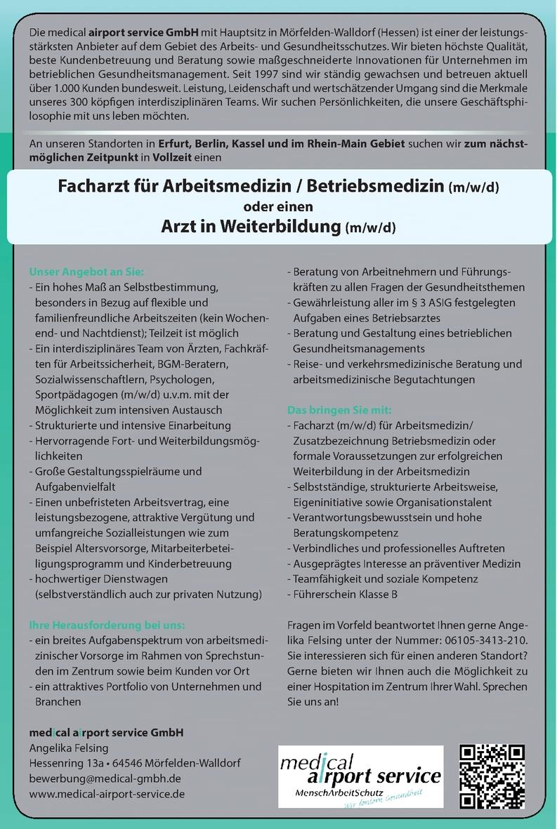 Facharzt für Arbeitsmedizin / Betriebsmedizin (m/w/d)