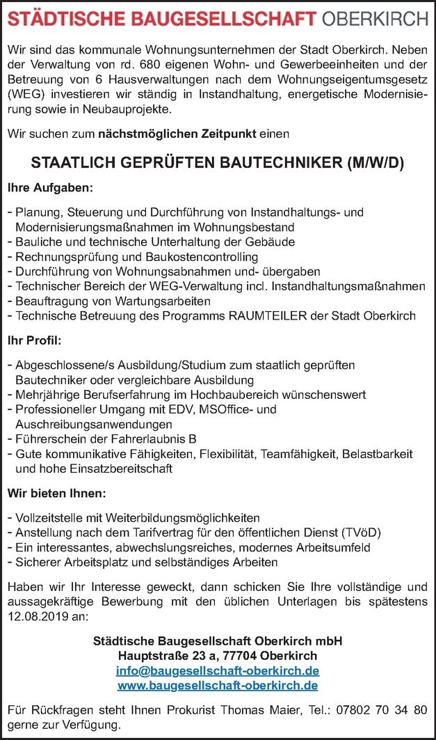 Hochbautechniker (m/w/d)