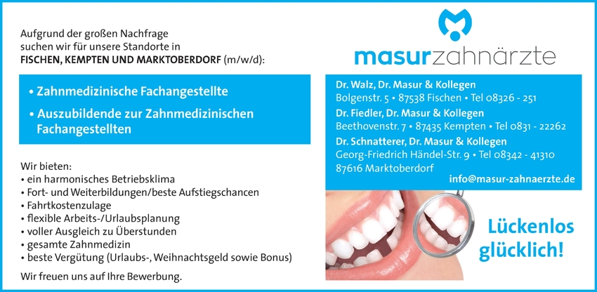 Auszubildende zur Zahnmedizinische Fachangestellte