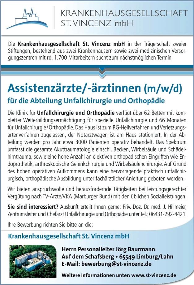Assistenzärzte/-ärztinnen Unfallchirurgie und Orthopädie