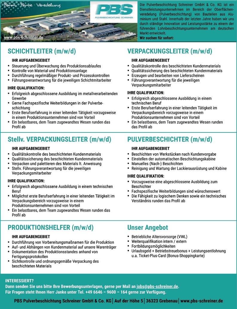 Schichtleiter (m/w/d)