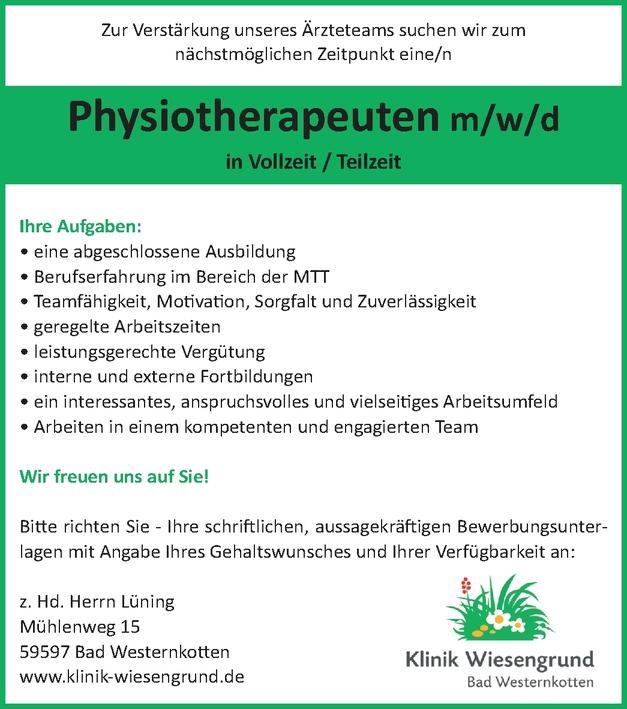 Physiotherapeuten m/w/d