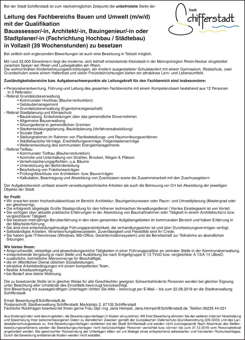 Leitung des Fachbereichs Bauen und Umwelt m/w/d
