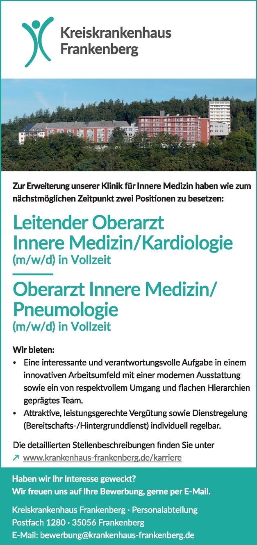 Leitender Oberarzt Innere Medizin/Kardiologie (m/w/d) (