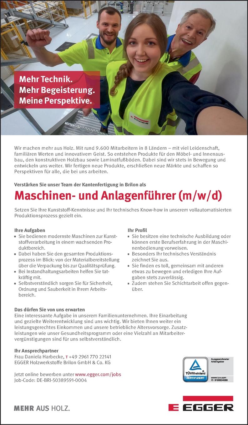 Maschinen- und Anlagenführer (m/w/d)