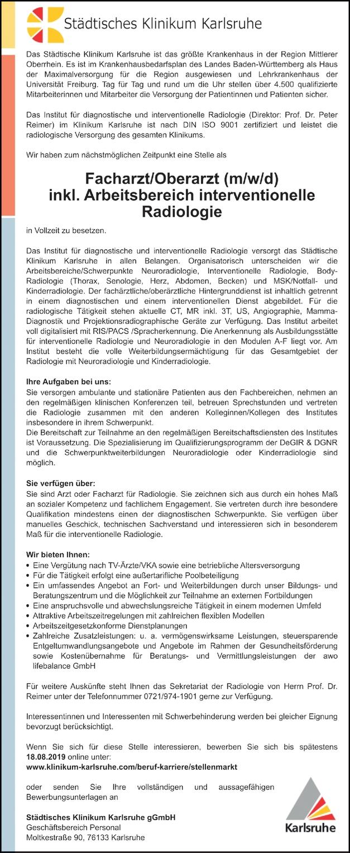 Facharzt/Oberarzt (m/w/d)