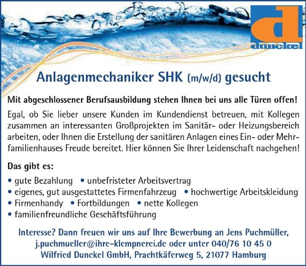 Anlagenmechaniker SHK (m/w/d)