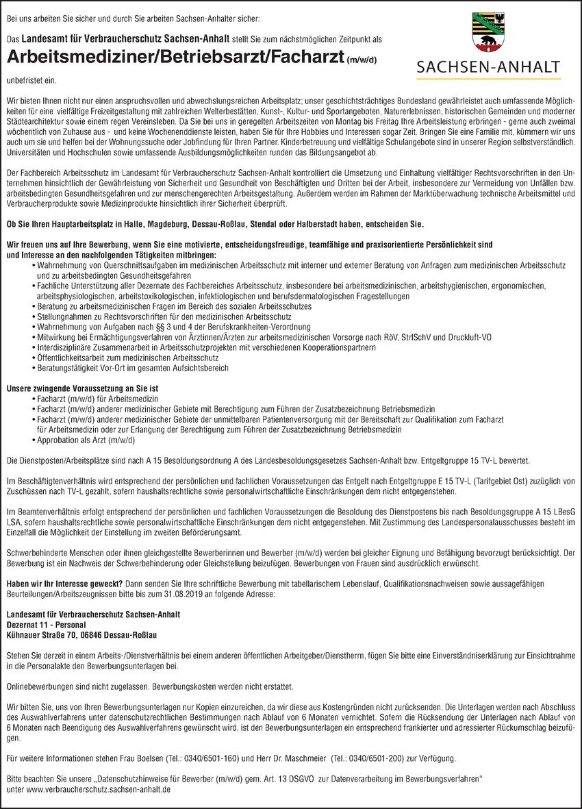 Arbeitsmediziner / Betriebsarzt m/w/d