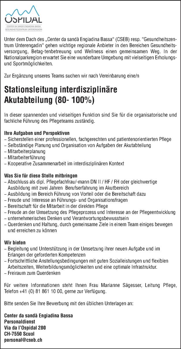 Stationsleitung interdisziplinäre Akutabteilung (80 - 100%)