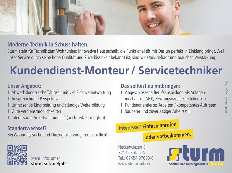 Kundendienst-Monteur / Servicetechniker