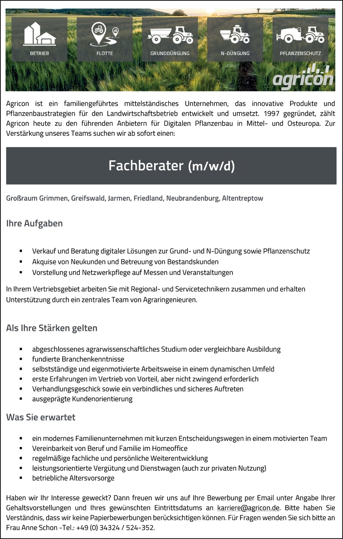 Agraringenieur/in Vertrieb