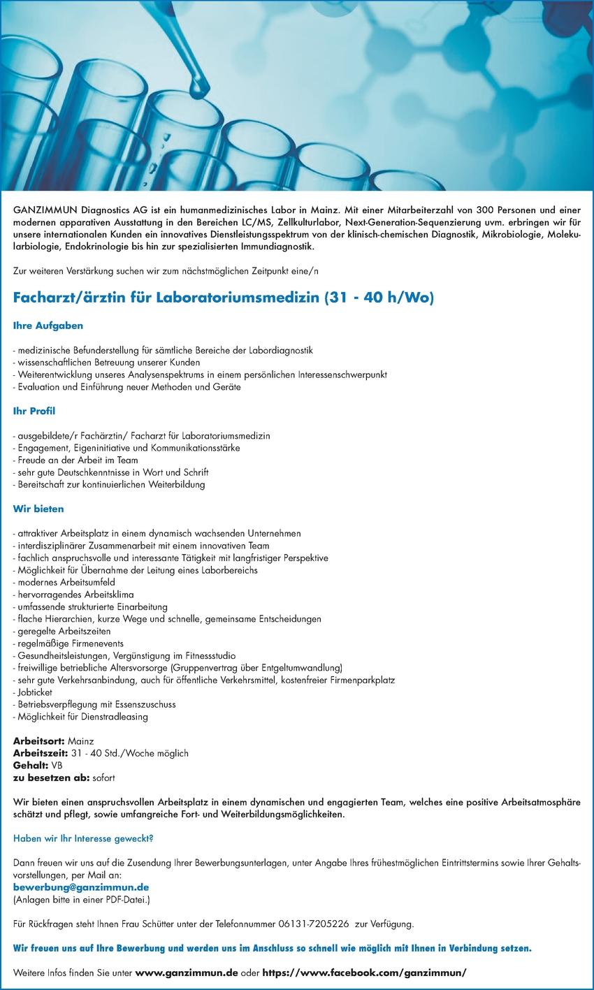 Facharzt/ärztin für Laboratoriumsmedizin