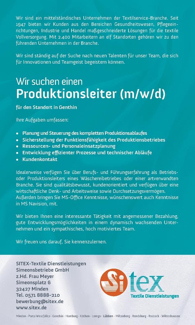 Produktionsleiter m/w/d