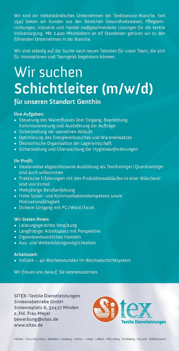 Schichtleiter m/w/d