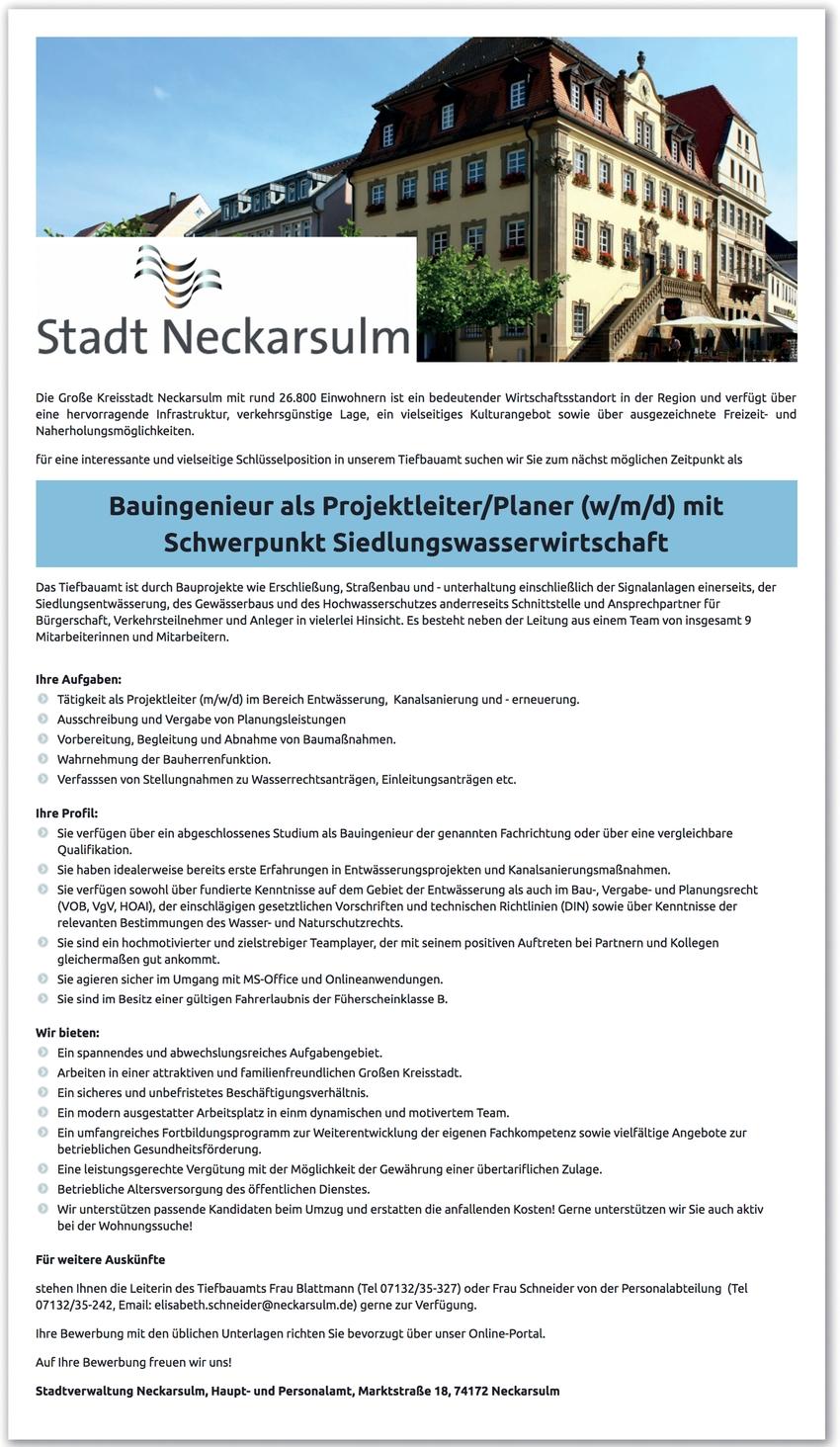 Bauingenieur/in - Siedlungswasserwirtschaft