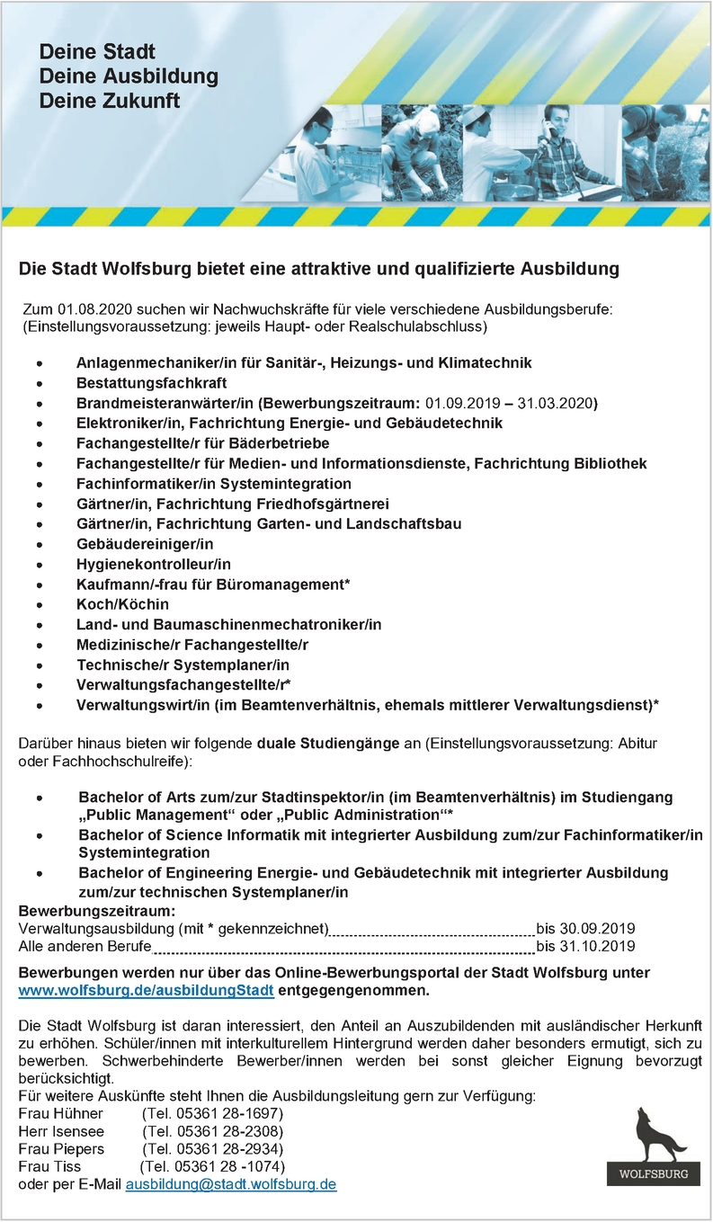 Auszubildende/r Stadt Wolfsburg